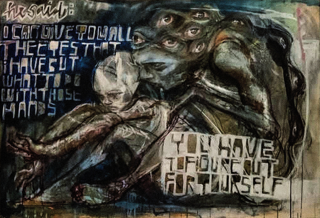 Herakut, 'I Can Give You All The Eyes I Have But What To Do With Those Hands You Have To Figure Out For Yourself', 2009, Mixed Media, Spray paint, acrylic and charcoal on canvas, Tate Ward Auctions