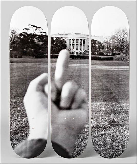 ", ' ""F#CK! The White House"" with Certificate of Authenticity Hand Signed by Ai Weiwei - (100 Days of Trump) Set of Three (3)  Lt Ed Skateboard Decks, one of only 66 with COA hand signed by Ai Weiwei,' 2017, Alpha 137 Gallery"