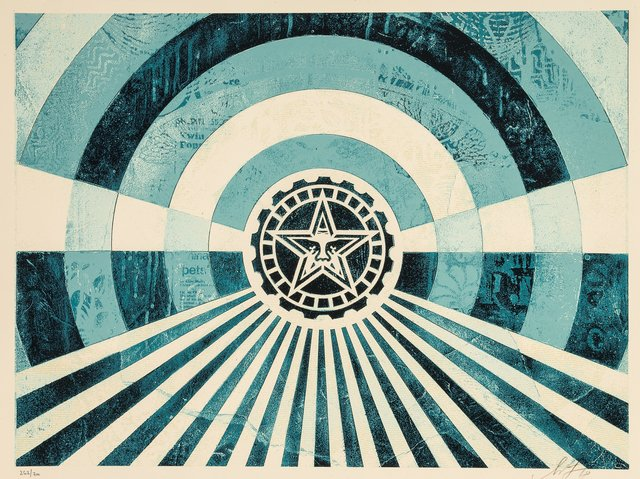 Shepard Fairey, 'Tunnel Vision Version 2 (Alternate Gold and Blue) (two works)', 2018, Heritage Auctions