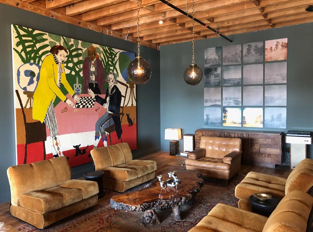 "At Walton Goggins 'The Mulholland Room' - Mullholland Distilling, Downtown LA with Danny Fox & Stefanie Schneider's 'Oasis"" from Sidewinder, 2018 / 2019"