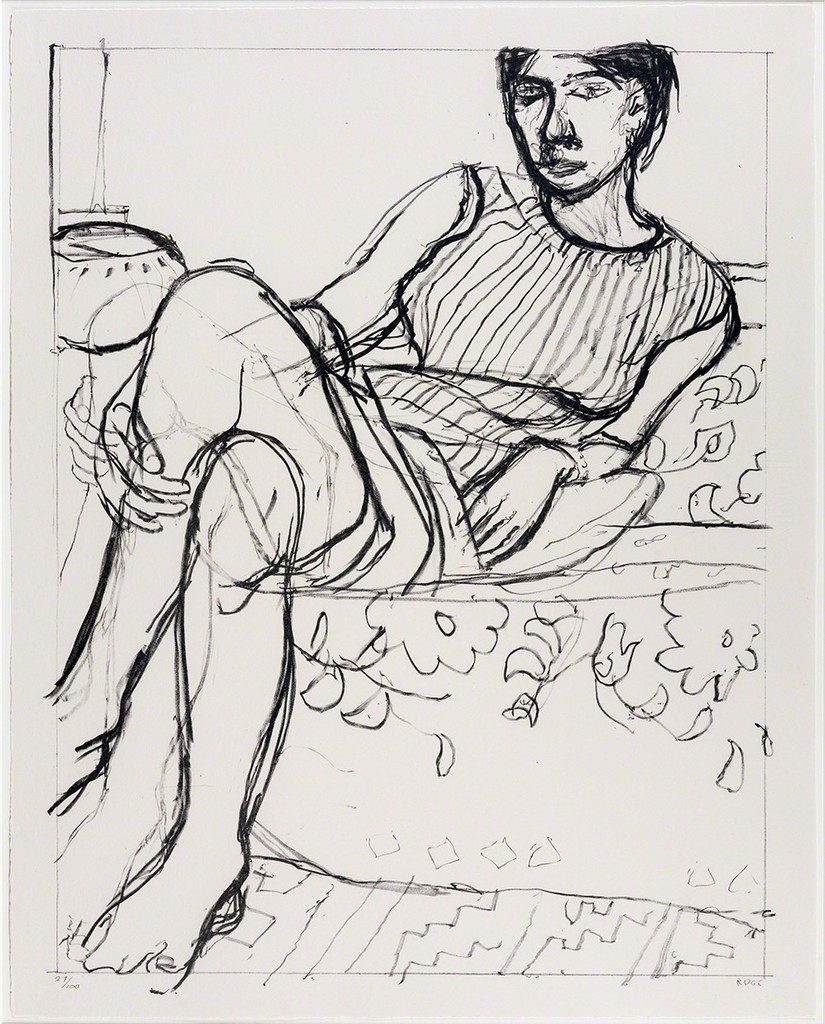 Seated Woman in Striped Dress