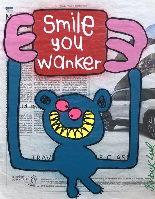 Bortusk Leer, 'Smile You Wanker', 2019, Painting, Spray paint and acrylic pen on newspaper, Kalkman Gallery