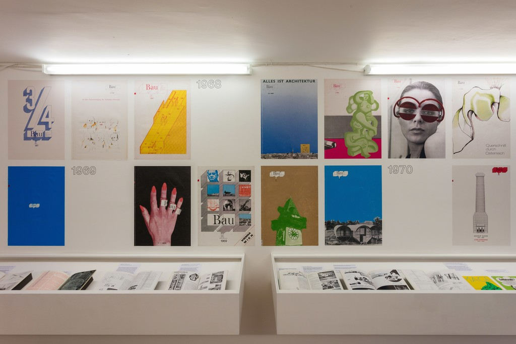 Installation view of Everything is Architecture: Bau Magazine from the 60s and 70s 29 July 2015 – 27 September 2015, Institute of Contemporary Arts London (ICA). Photo: Mark Blower.