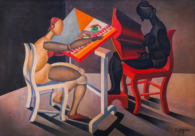 Fortunato Depero, 'Lettrice e ricamatrice automatiche', 1921-23, Martini Studio d'Arte