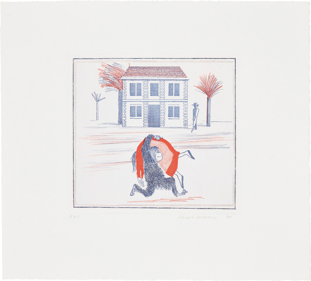 """David Hockney, 'Geography Book (Félicité's Only View From Abroad): Illustration for """"A Simple Heart"""" of Gustave Flaubert', 1974, Phillips"""