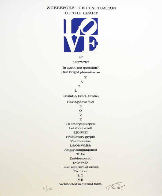 Robert Indiana, 'Wherefore the Punctuation of the Heart Poem, Book of Love', 1996, Woodward Gallery