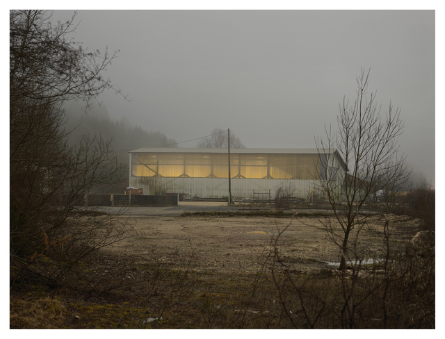 , ''Crépuscule. D1084, route de Genève, Les Neyrolles', from the Series, Zone de Repli,' 2014, East Wing