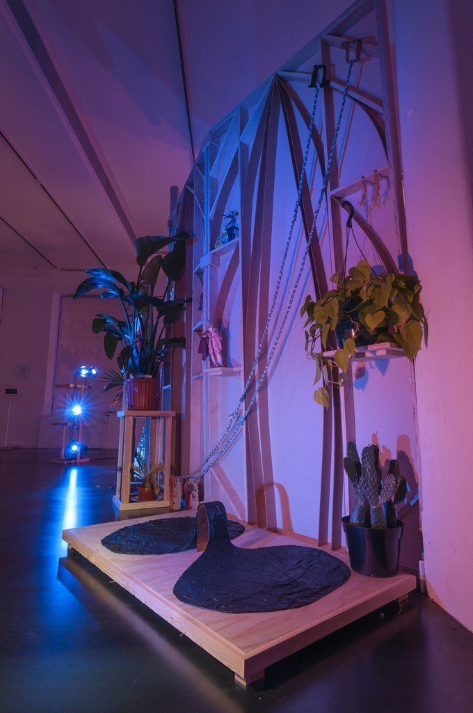 "Visible contributed works, left to right: lighting structures by Sarah Ann Burns, Nordic soap by Arnar Asgeirsson, Amazon figuring by Ellen Lesperance, wall sculpture by Katy Cowan, spaghetti earrings by Scott Cowan, conceptual ""shoe"" by India Lawrence"