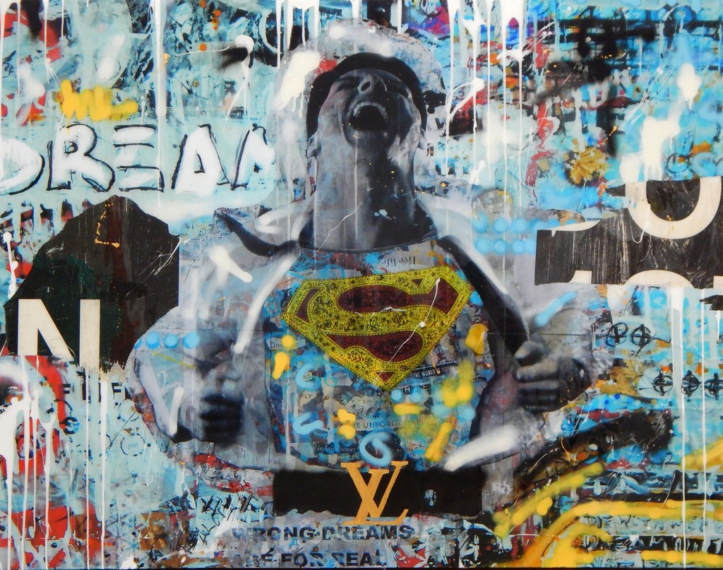 """Dreamer II"" calls to light the level of intensity, drive and motivation one must have to completely follow a dream. With so many self or societally imposed walls and obstacles, rights and wrongs, one must be a superhero to rip past everything and follow a dream. Anarchy signs are shown throughout the piece particularly in the Superman ""S"" furthering the point that one must ignore the ""taught"" and think independently and outside the norm to achieve a dream."