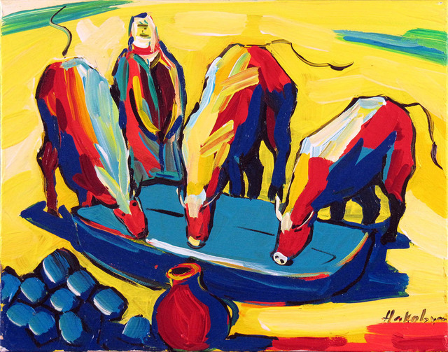 Harout Hakobyan, 'Drinking Cows', ca. 2000, Painting, Oil on Canvas, Janus Galleries