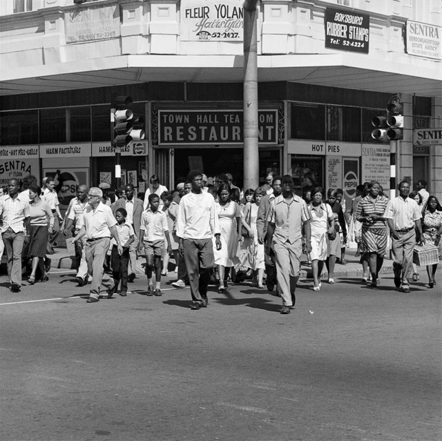 David Goldblatt, 'Saturday morning at the corner of Commissioner and Trichardt Streets, Boksburg', 1979-1980, Photography, Silver gelatin print on fibre-based paper, Goodman Gallery