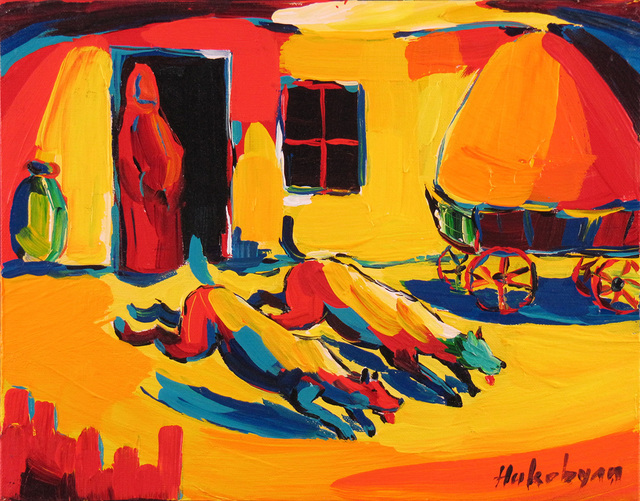 Harout Hakobyan, 'Two Running Dogs', ca. 2000, Painting, Oil on Canvas, Janus Galleries