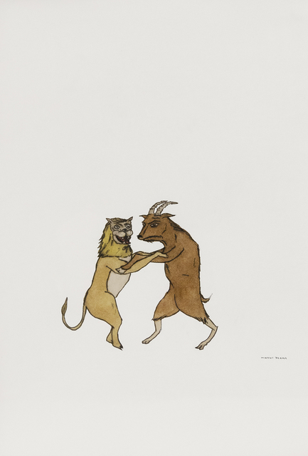 Marcel Dzama, 'Untitled (Lion and goat)', 2001, Drawing, Collage or other Work on Paper, Mixed media on paper, ClampArt