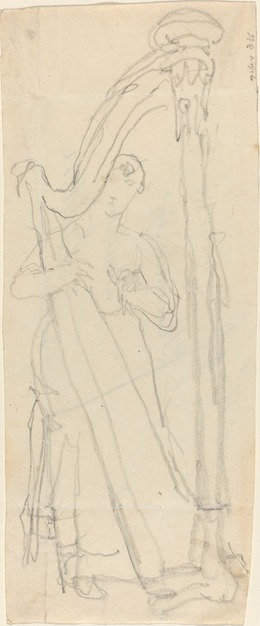 John Flaxman, 'Woman Playing a Harp', Drawing, Collage or other Work on Paper, Graphite, National Gallery of Art, Washington, D.C.