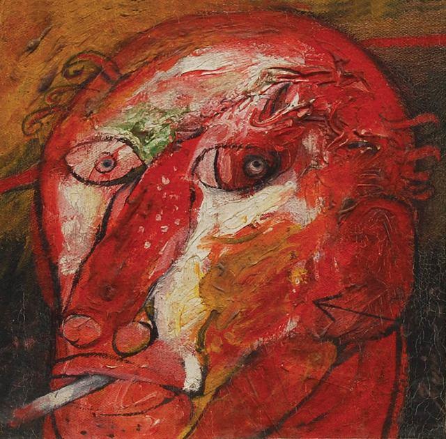 ", 'Head II, Mixed Media on Board by Padma Shree Artist Sunil Das ""In Stock"",' , Gallery Kolkata"