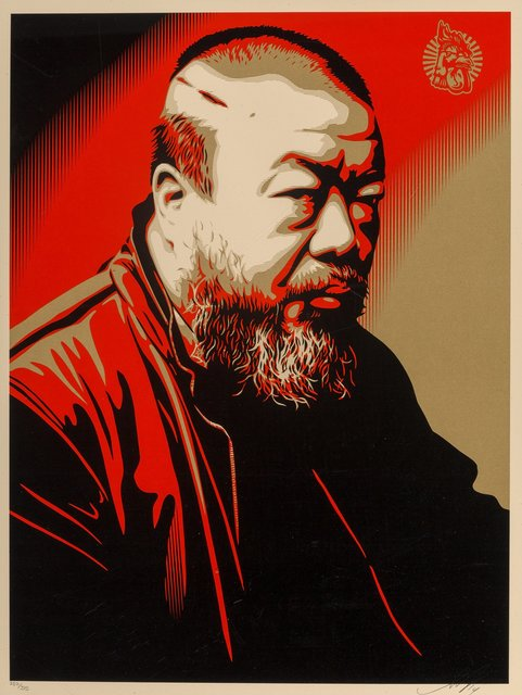 Shepard Fairey, 'Ai Weiwei X Cost of Expression', 2014, Print, Screenprint in colors on cream speckled paper, Heritage Auctions