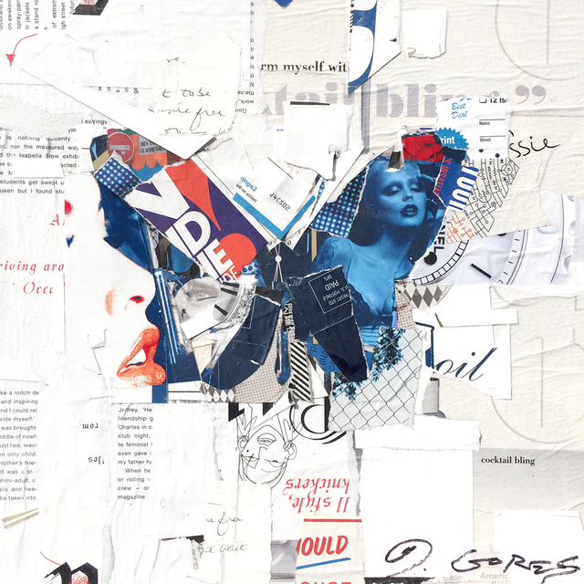 "Derek Gores, '""Auto Pilot"" collage of a blue butterfly with white background', 2018, Eisenhauer Gallery"