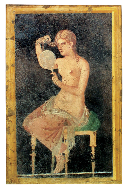 , 'Fresco of a woman attending to her hair,' , Montreal Museum of Fine Arts