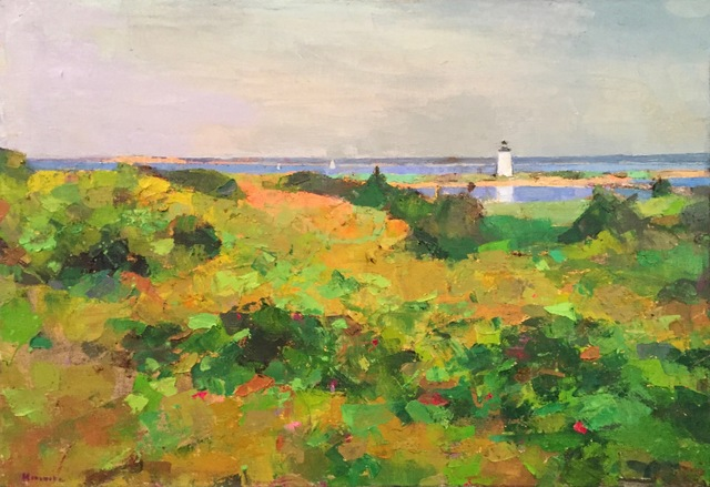 ", '""Summer in Edgartown"" Painterly Landscape with Lighthouse in Greens with Ocean,' 2010-2018, Eisenhauer Gallery"