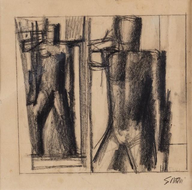 Mario Sironi, 'Due studi per una figura del rilievo Il Popolo Italiano del Palazzo del Popolo d'Italia', 1940 ca., Finarte