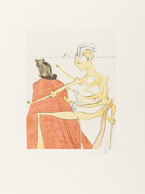 Salvador Dalí, 'Gala's Godly Back (Field 74-8B; M&L 669d)', 1974, Print, Etching with extensive handcolouring, Forum Auctions