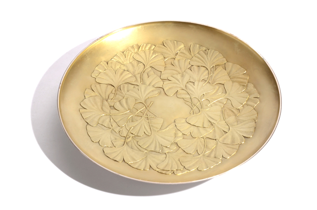 , 'Japanese ginkgo design Silver tray,' , Yumekoubou Antique