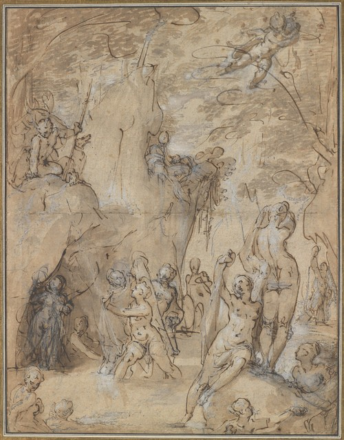 Bartholomaeus Spranger, 'Diana and Actaeon', ca. 1580–1585, Drawing, Collage or other Work on Paper, Pen and brown ink, brush and brown and gray wash, white heightening, over traces of black chalk, on paper washed blue and pink, The Metropolitan Museum of Art