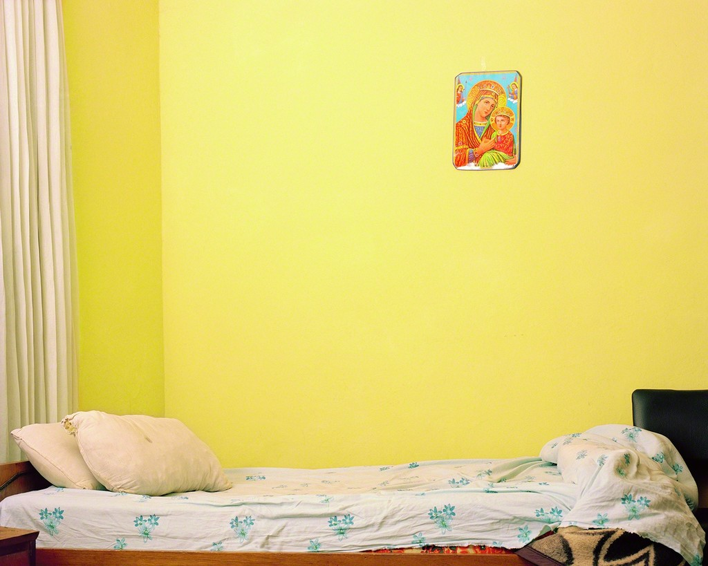 Empty Bed with The Virgin Mary