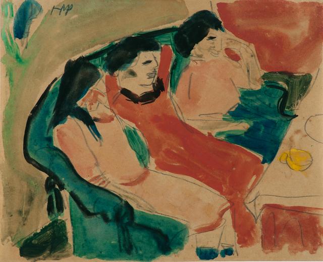 , 'Drei Mädchen auf dem Sofa,' ca. 1909, Galerie Schwarzer