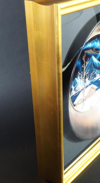 Bob Ross, 'Bob Ros Signed Original Gold Pan on Velvet Painting', ca. 1980, Painting, Oil on Velvet inside Gold Pan, Modern Artifact