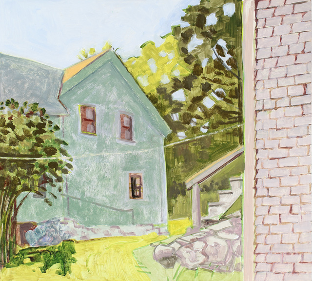 Lois Dodd, 'Barn Staircase + Side of House', 2017, Painting, Oil on Masonite, Alexandre Gallery