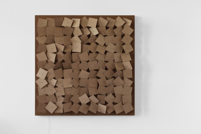 , '121 prepared dc-mnotors, cardboard elements 8x8cm,' 2011, bitforms gallery