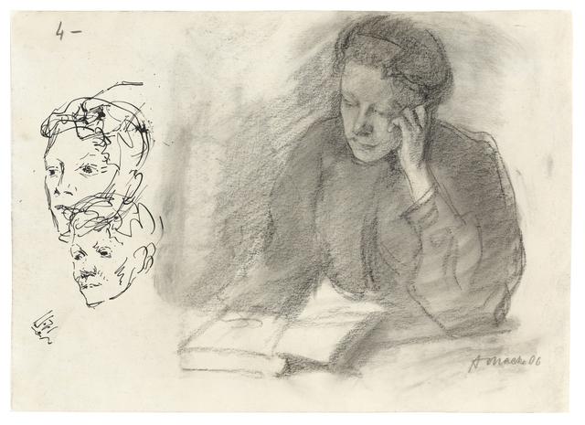 , 'Ottilie Macke, am Tisch mit aufgestützter Wange lesend,' 1906, Ludorff