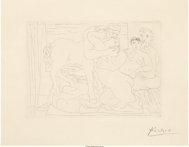 Pablo Picasso, 'Le Repos du sculpteur devant un centaure et une femme, from La Suite Vollard', 1933, Heritage Auctions