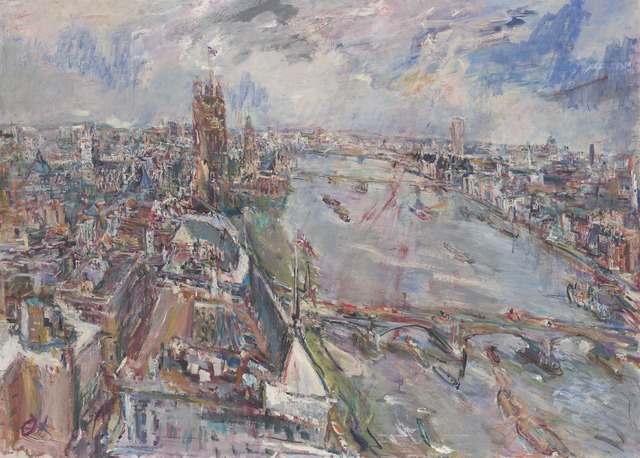 Oskar Kokoschka, 'View of the Thames from the Vicker's Building, Millbank', 1962, Yale University Art Gallery