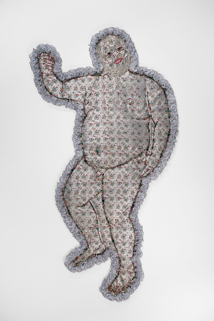 Anthony Sonnenberg, 'Dionysus (Self-Portrait Pillow)', 2015, Textile Arts, Found fabric, semi-precious stones, crystal beads, fringe, batting, Conduit Gallery