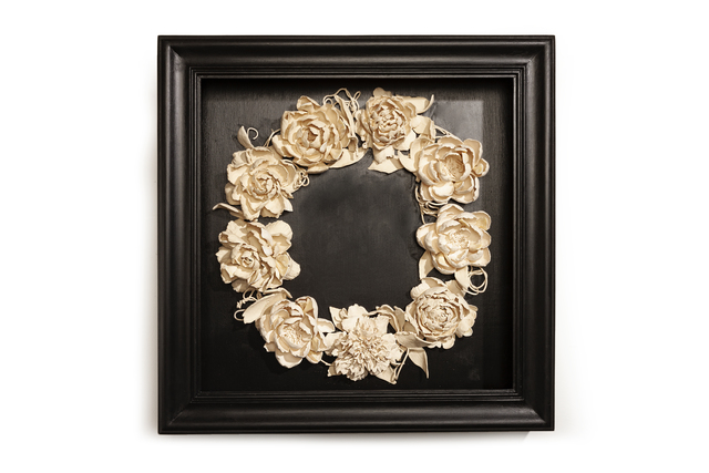 Marcy Lally, 'Peony Wreath', 2018, Sculpture, Black box, handmade porcelain ceramic flowers with bison, buffalo teeth, LeMieux Galleries