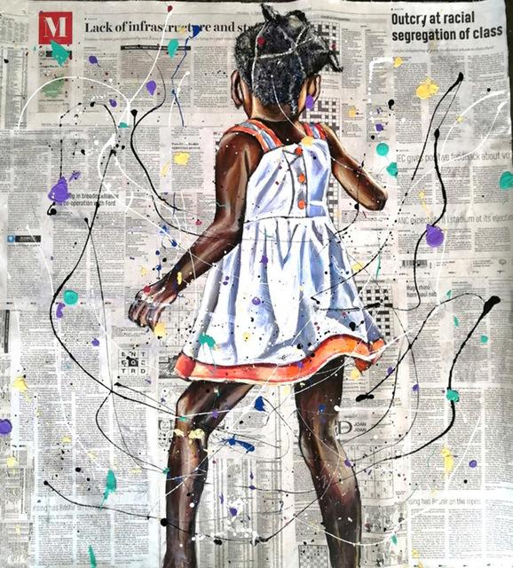 Andrew Ntshabele, 'Unspeakable joy III', 2020, Mixed Media, Acrylic on newspaper (pasted on canvas), ARTsouthAFRICA