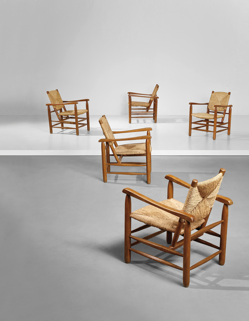Charlotte Perriand, 'Set of five armchairs, model no. 21, from 'L'Equipement de la Maison' series', designed 1935, produced ca. 1946, 1968, Phillips
