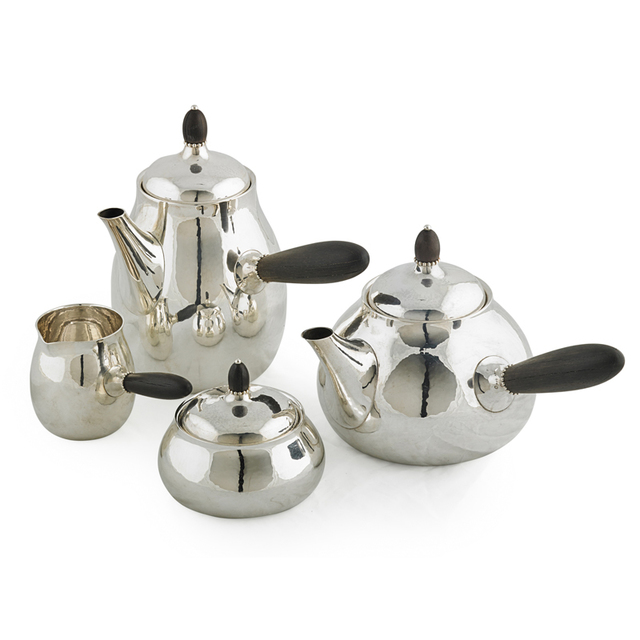 Georg Jensen, 'Four-Piece Assembled Tea And Coffee Set, Teapot (80C), Coffee Pot (80C), Creamer (80B), And Lidded Sugar (80B), Denmark', After 1945, Rago/Wright