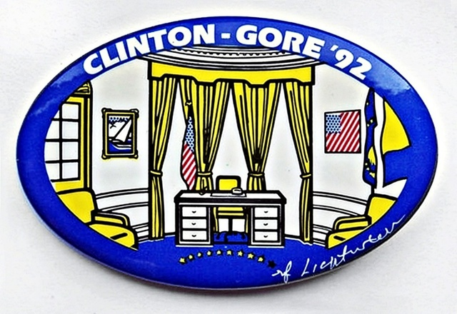 Roy Lichtenstein, 'CLINTON GORE THE OVAL OFFICE (Limited Edition Campaign Button)', 1992, Mixed Media, Mixed Media Screenprint on Political Button (plate Signed), Alpha 137 Gallery Gallery Auction