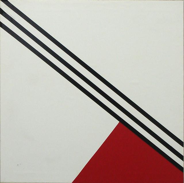 , 'Drei Striche und rotes Dreieck,' 1989, SMUDAJESCHECK