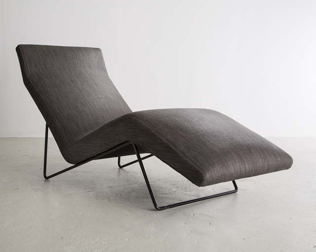 , 'Upholstered lounge chair in grey with a sculptural iron frame,' ca. 1960, R & Company