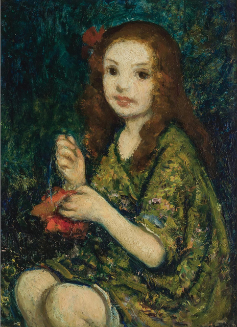 Francis Luis Mora, 'Portrait of a young girl ', ca. 1920, Painting, Oil on wood panel, Robert Funk Fine Art