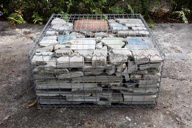 Tom Scicluna, '33009', 2021, Sculpture, Gabion cages, plastic and concrete pavers, Nina Johnson