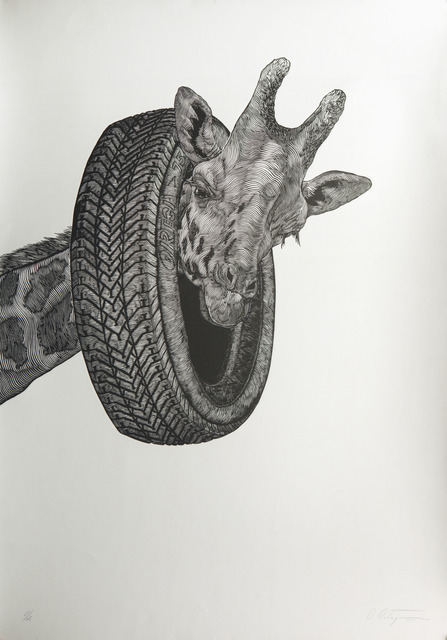 , '[Giraffe with Tire],' 2012, Childs Gallery