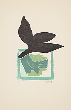 , 'Oiseau noir sur fond vert,' 1962, Galerie Boisseree