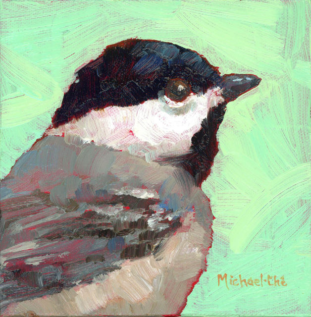"Michael-Che Swisher, '""Misty Morning"" Oil portrait of a black, white and gray bird with green background', 2019, Eisenhauer Gallery"