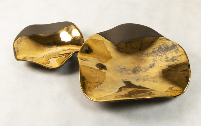 """, 'Set of two Ceramics with gold by Claire de Lavallee """"Mother and Child"""",' 2008, Valerie Goodman Gallery"""