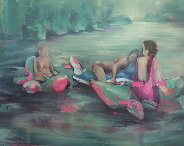 Oda Tungodden, 'The Raft', 2019, Painting, Oil and acrylic on canvas, 99 Loop Gallery